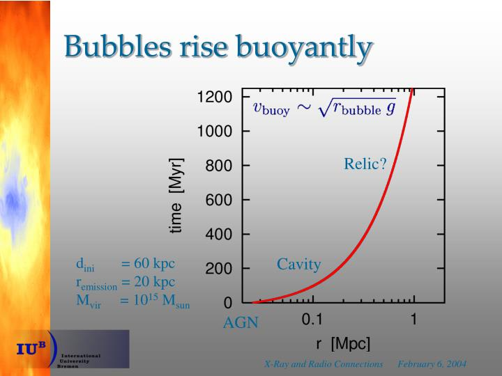 Bubbles rise buoyantly