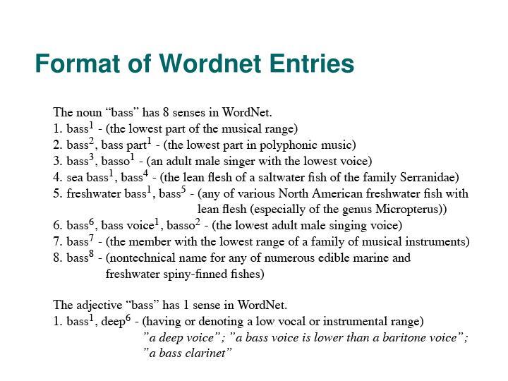 Format of Wordnet Entries