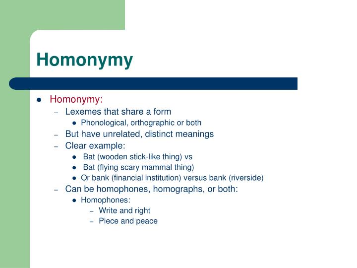 Homonymy