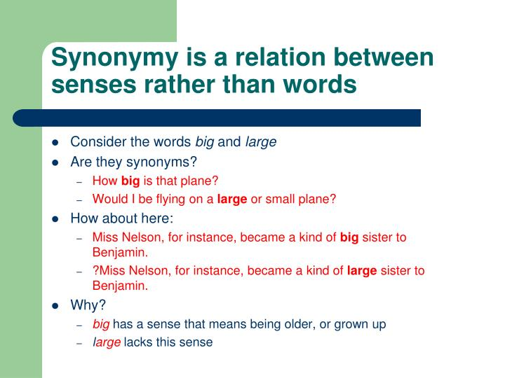 Synonymy is a relation between senses rather than words