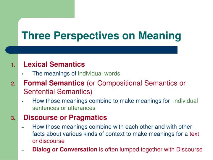 Three perspectives on meaning