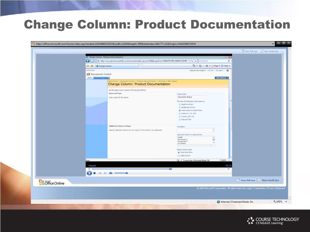 Change Column: Product Documentation