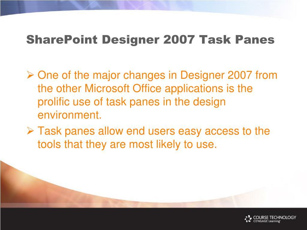 SharePoint Designer 2007 Task Panes
