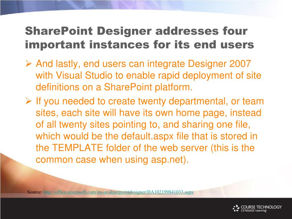 SharePoint Designer addresses four important instances for its end users