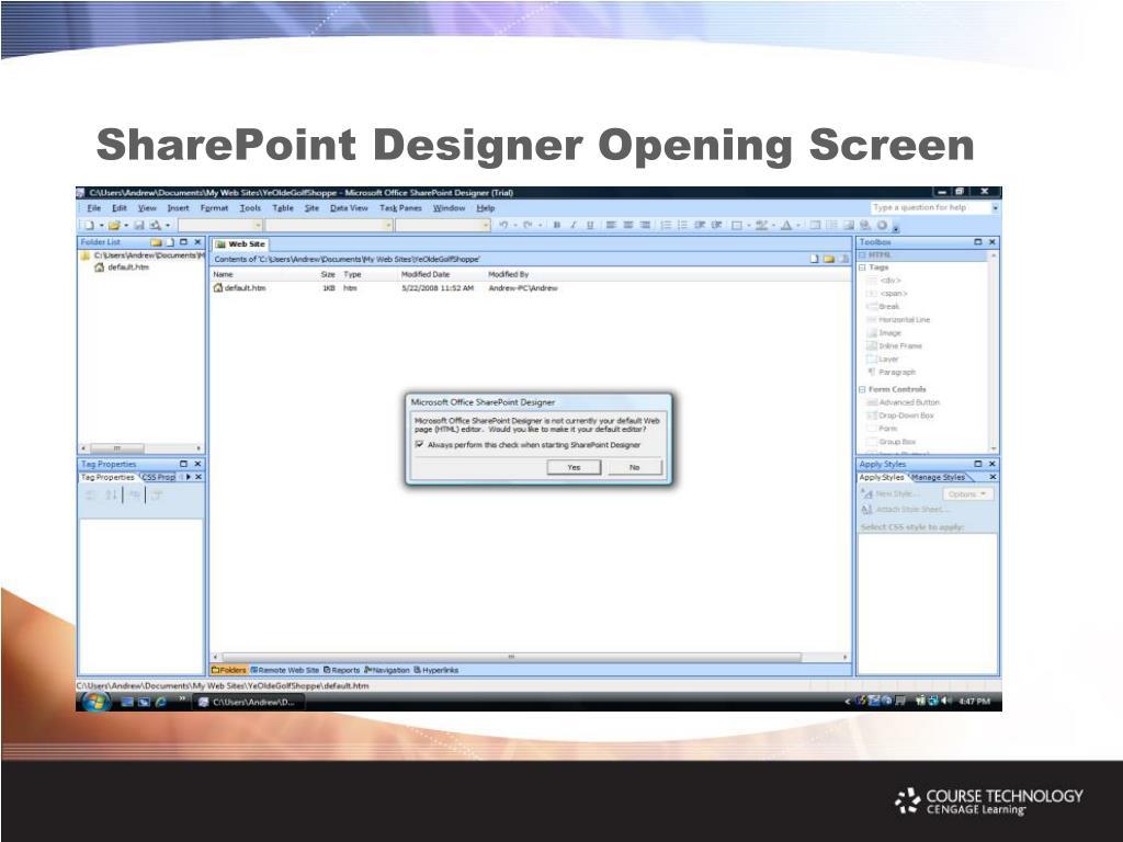 SharePoint Designer Opening Screen