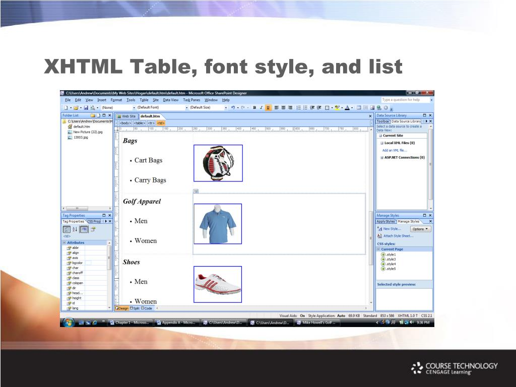 XHTML Table, font style, and list