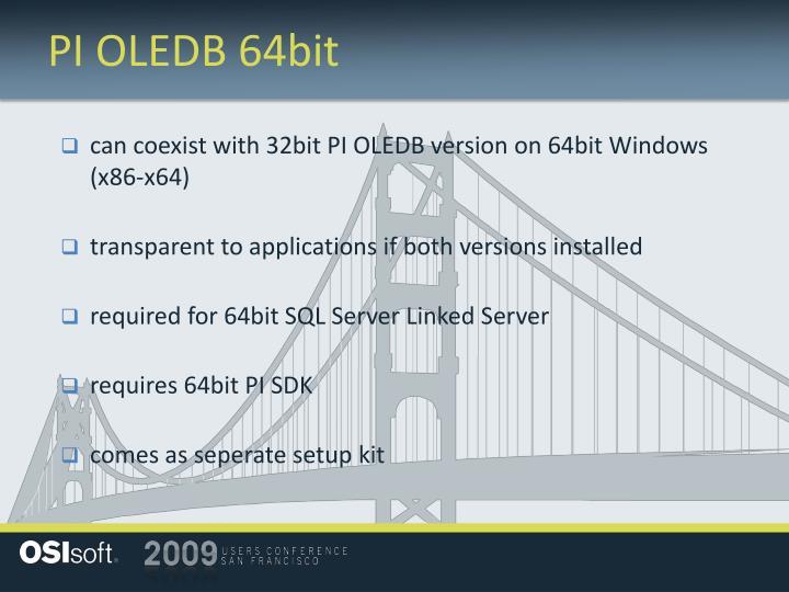 PI OLEDB 64bit