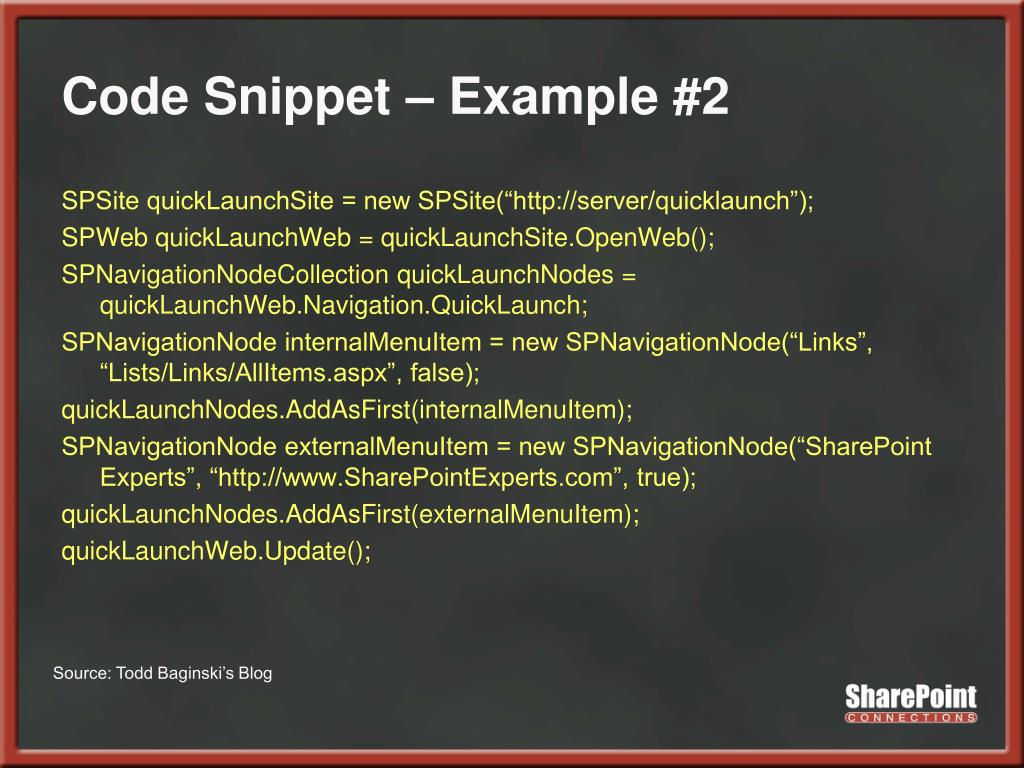 Code Snippet – Example #2