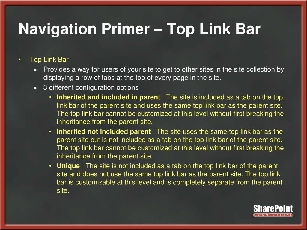 Navigation Primer – Top Link Bar
