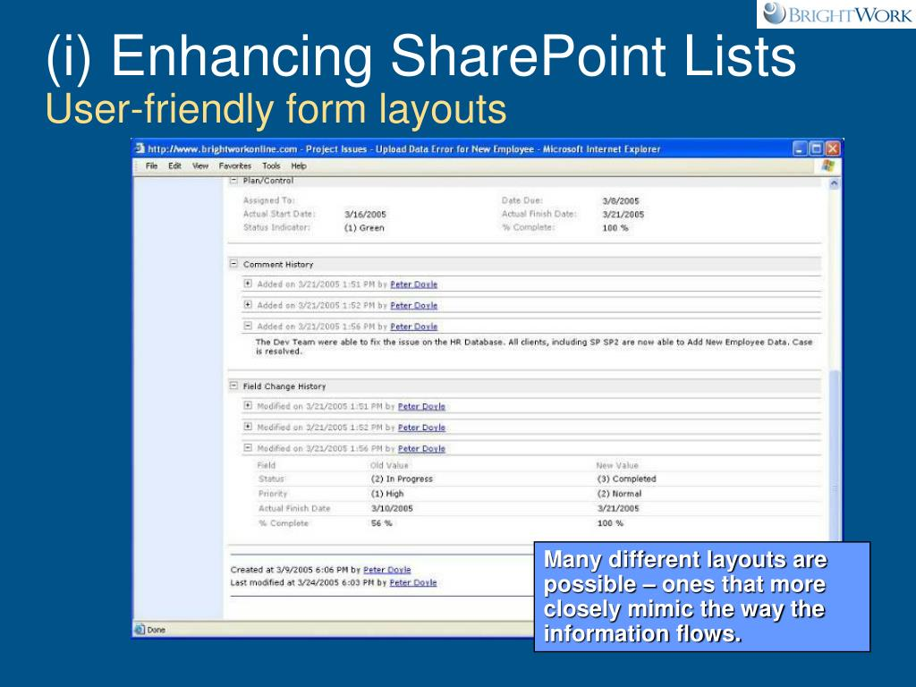 (i) Enhancing SharePoint Lists