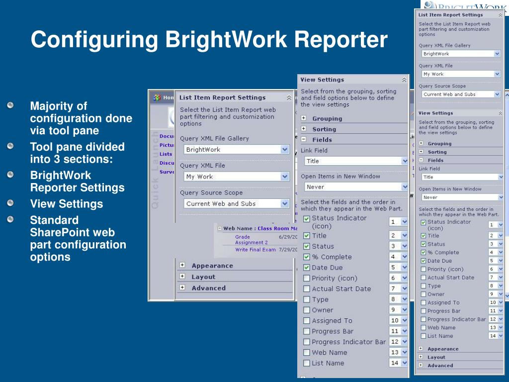 Configuring BrightWork Reporter