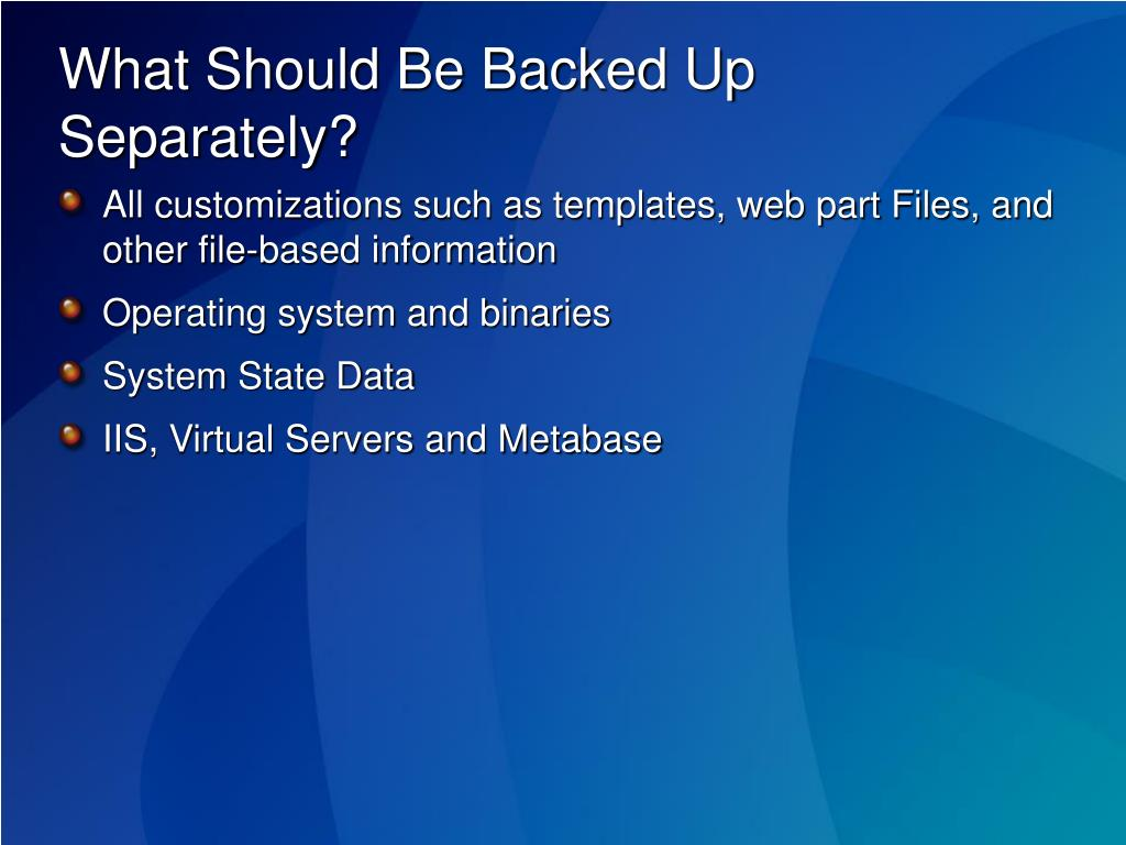 What Should Be Backed Up Separately?