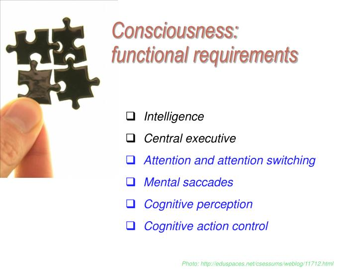 Consciousness: functional requirements