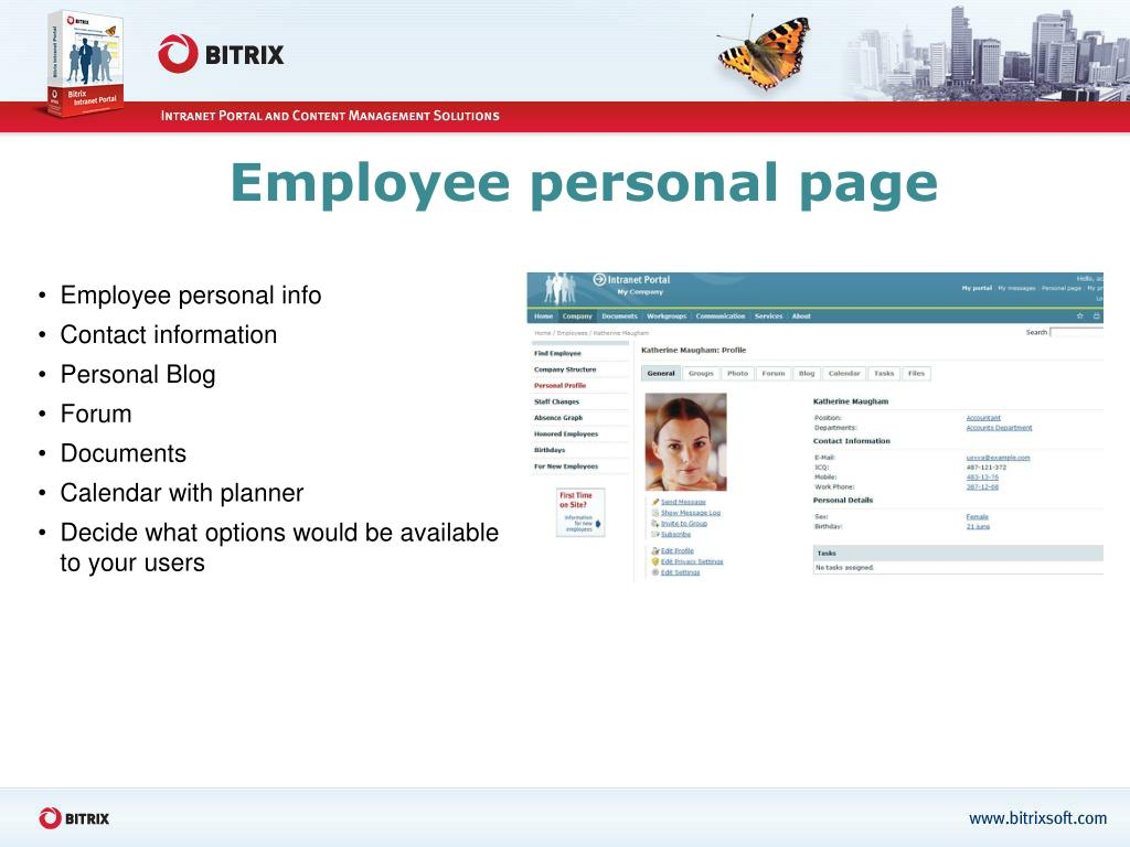 Employee personal page