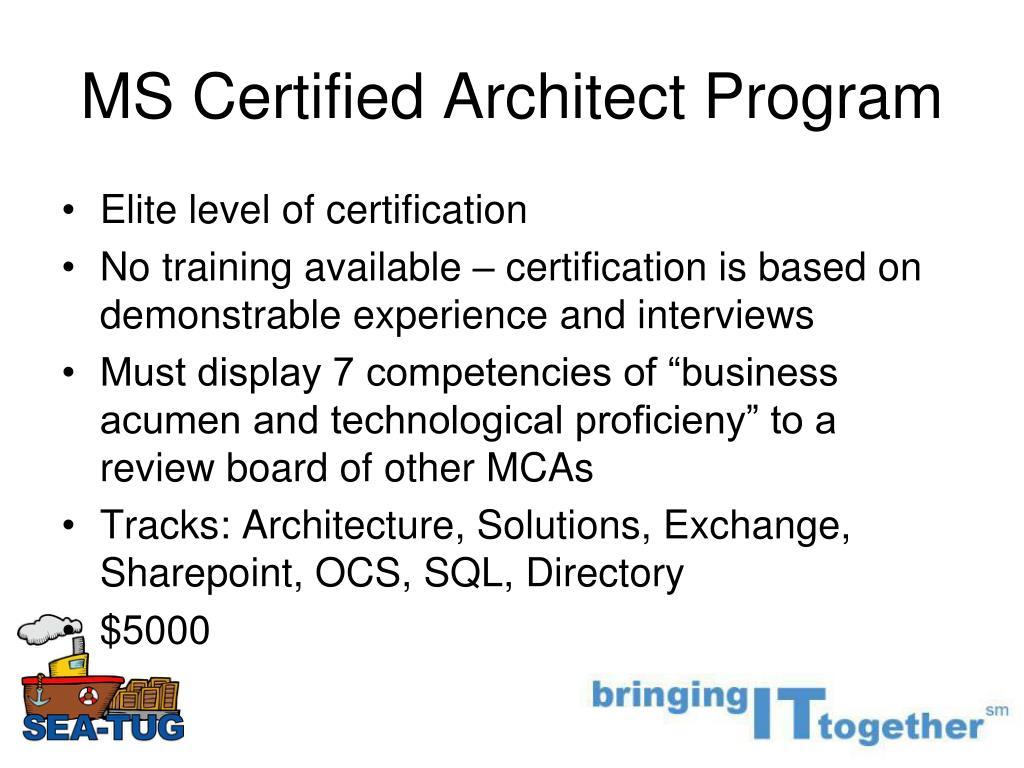 MS Certified Architect Program
