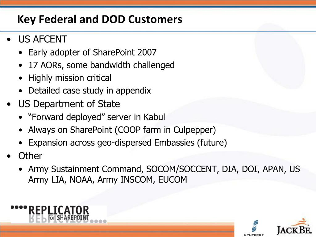 Key Federal and DOD Customers