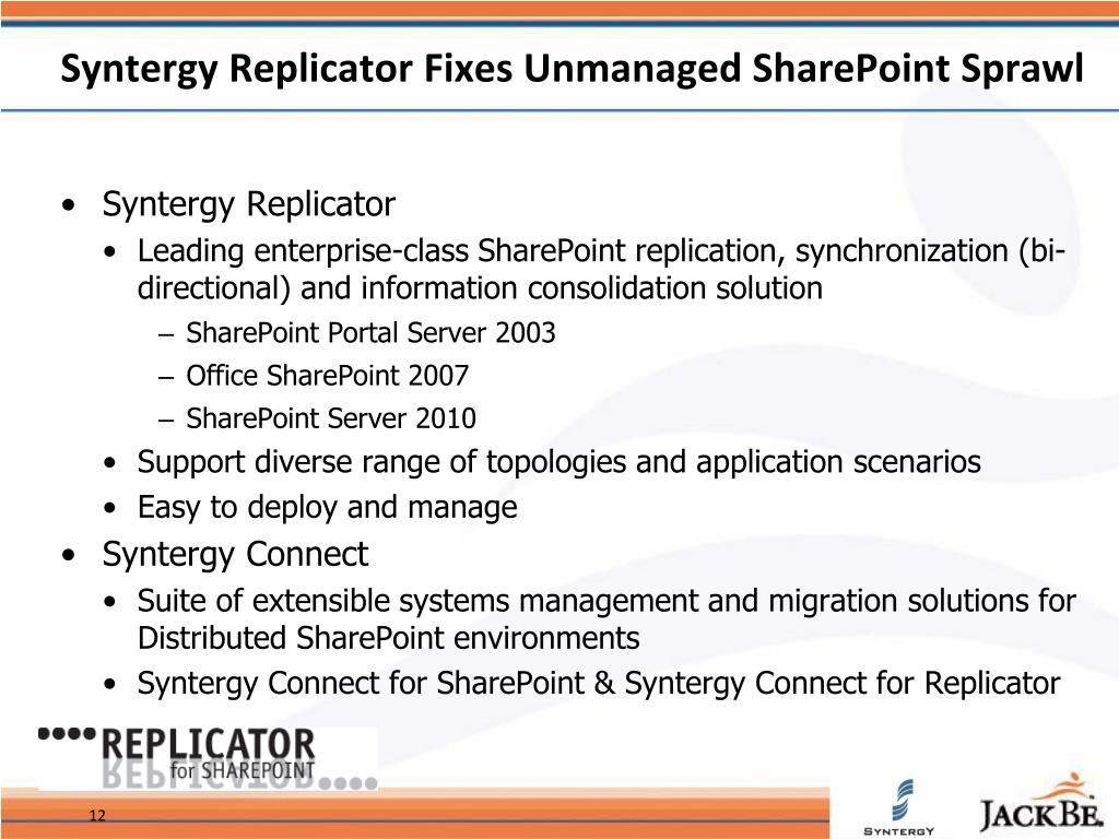 Syntergy Replicator Fixes Unmanaged SharePoint Sprawl
