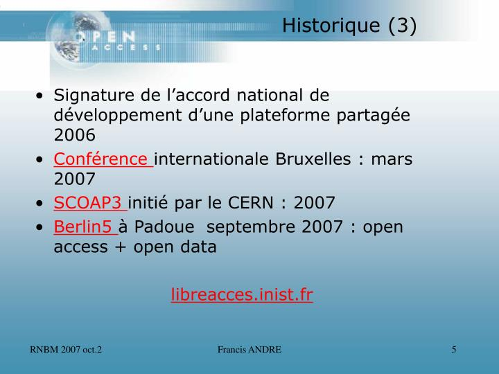 Signature de l'accord national de développement d'une plateforme partagée 2006