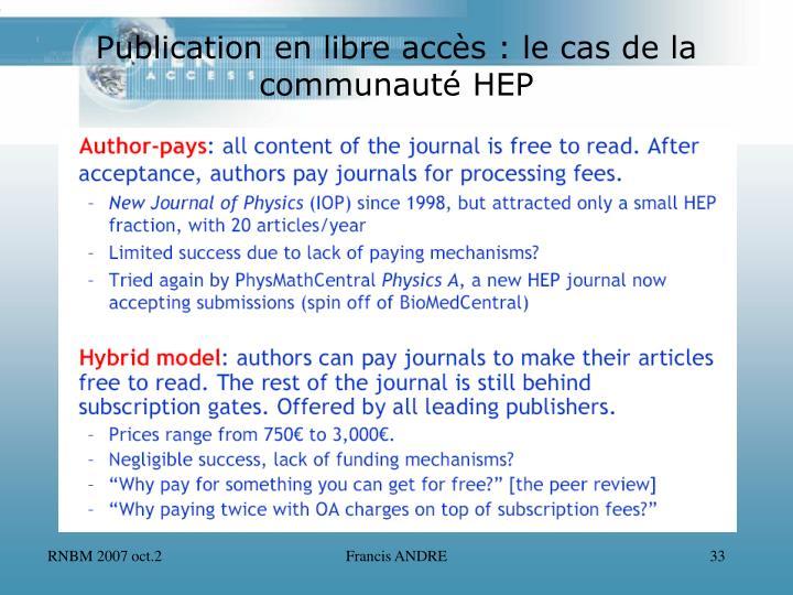 Publication en libre accès : le cas de la communauté HEP