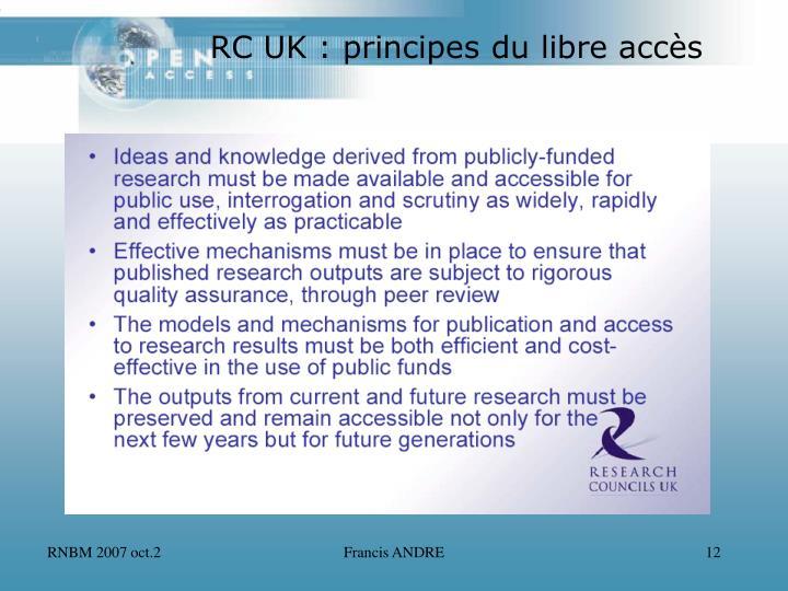 RC UK : principes du libre accès