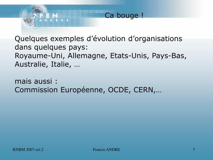 Quelques exemples d'évolution d'organisations
