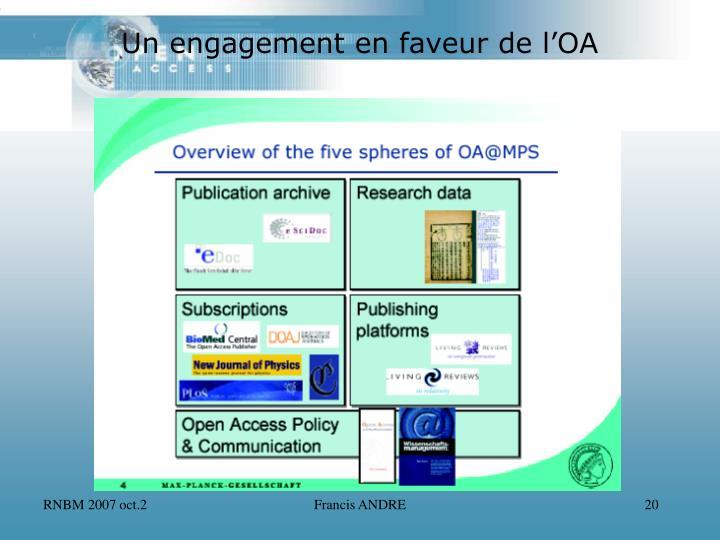 Un engagement en faveur de l'OA