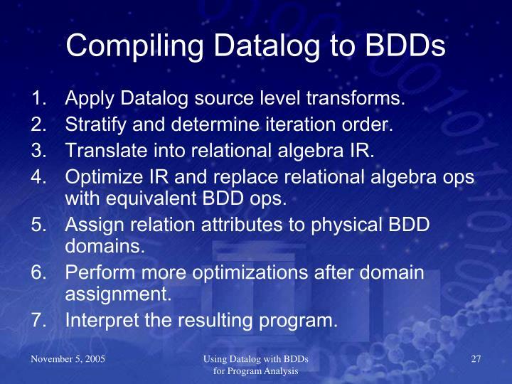 Compiling Datalog to BDDs
