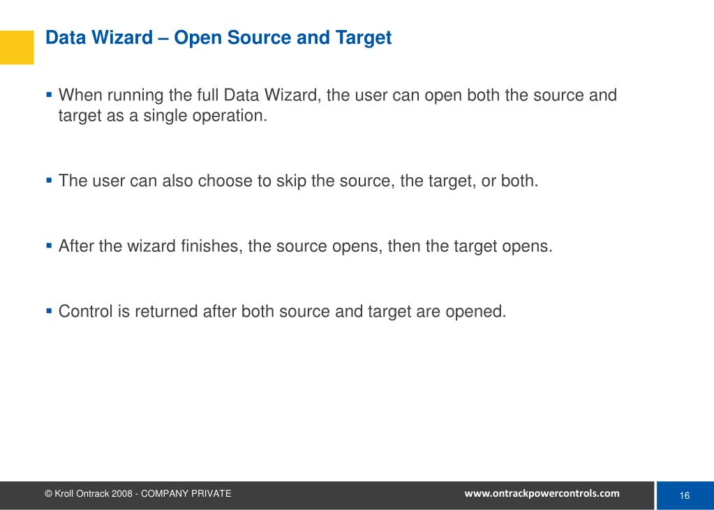 Data Wizard – Open Source and Target
