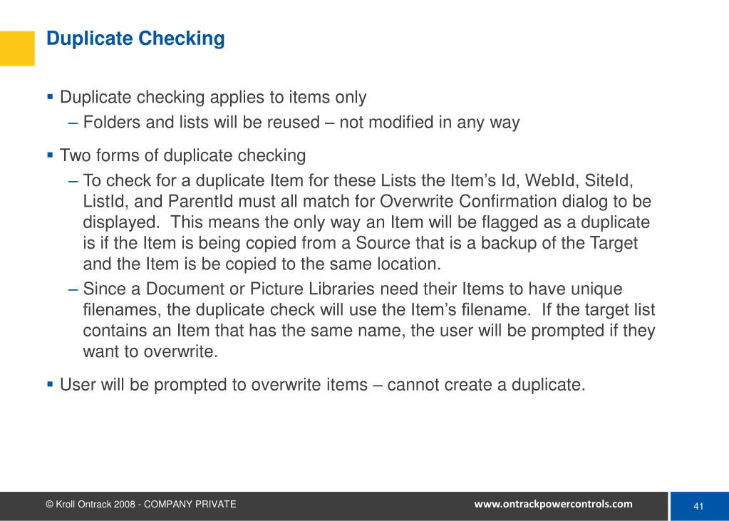 Duplicate Checking