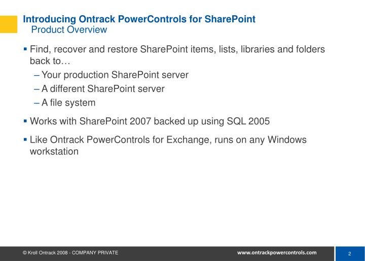 Introducing ontrack powercontrols for sharepoint product overview