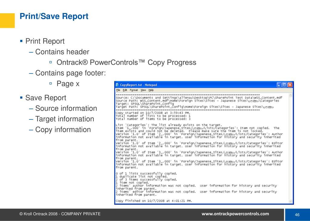 Print/Save Report