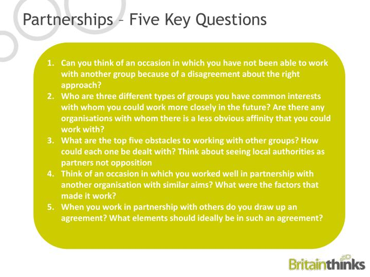 Partnerships – Five Key Questions