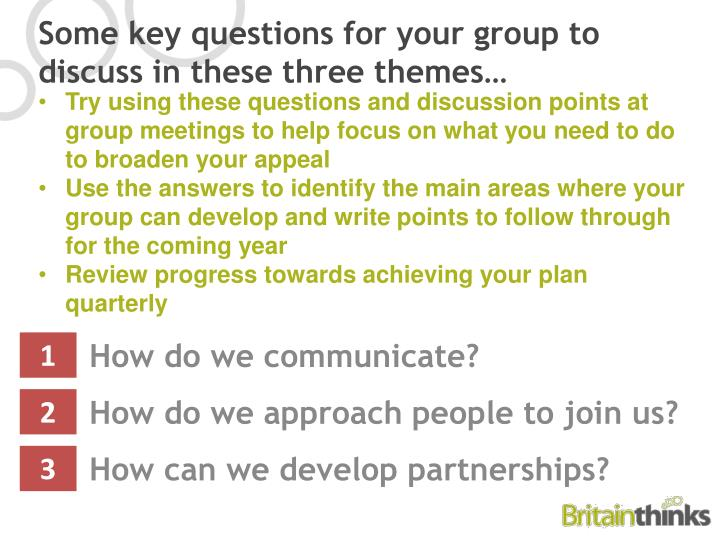 Try using these questions and discussion points at group meetings to help focus on what you need to do to broaden your appeal