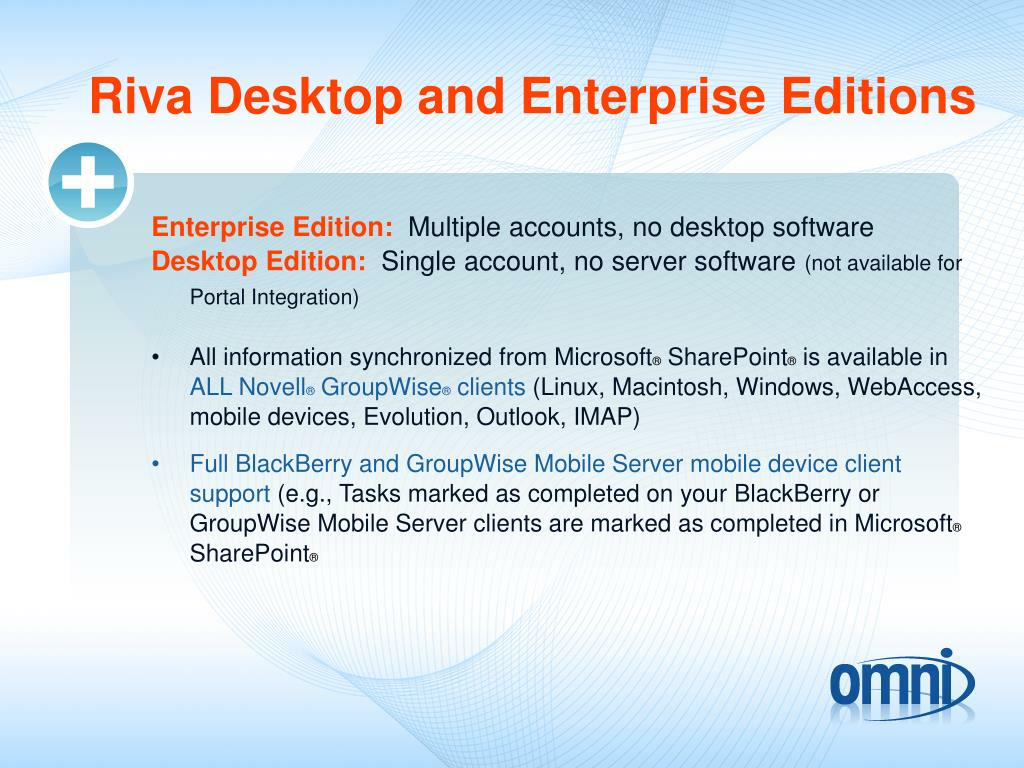Riva Desktop and Enterprise Editions