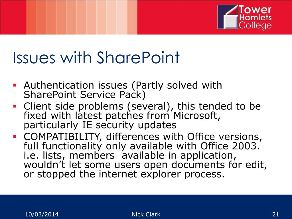 Issues with SharePoint