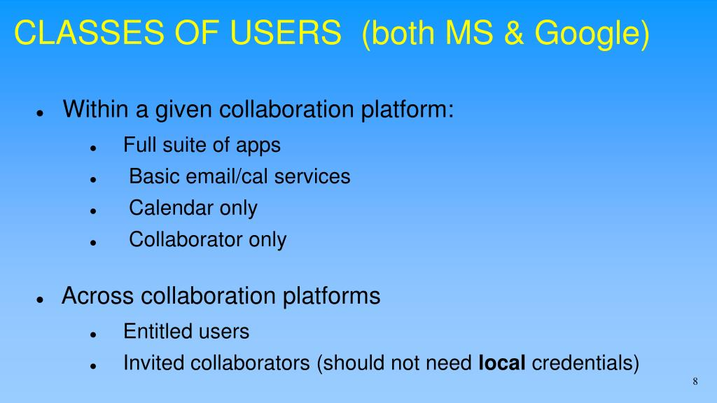 CLASSES OF USERS  (both MS & Google)