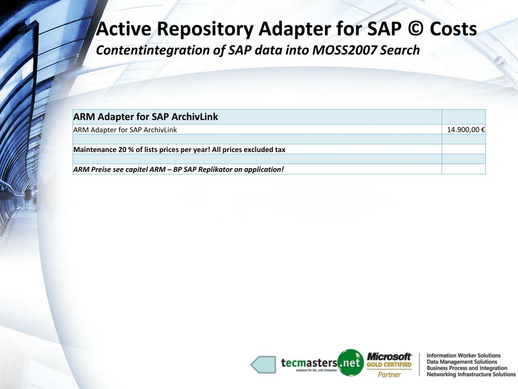 Active Repository Adapter for SAP © Costs