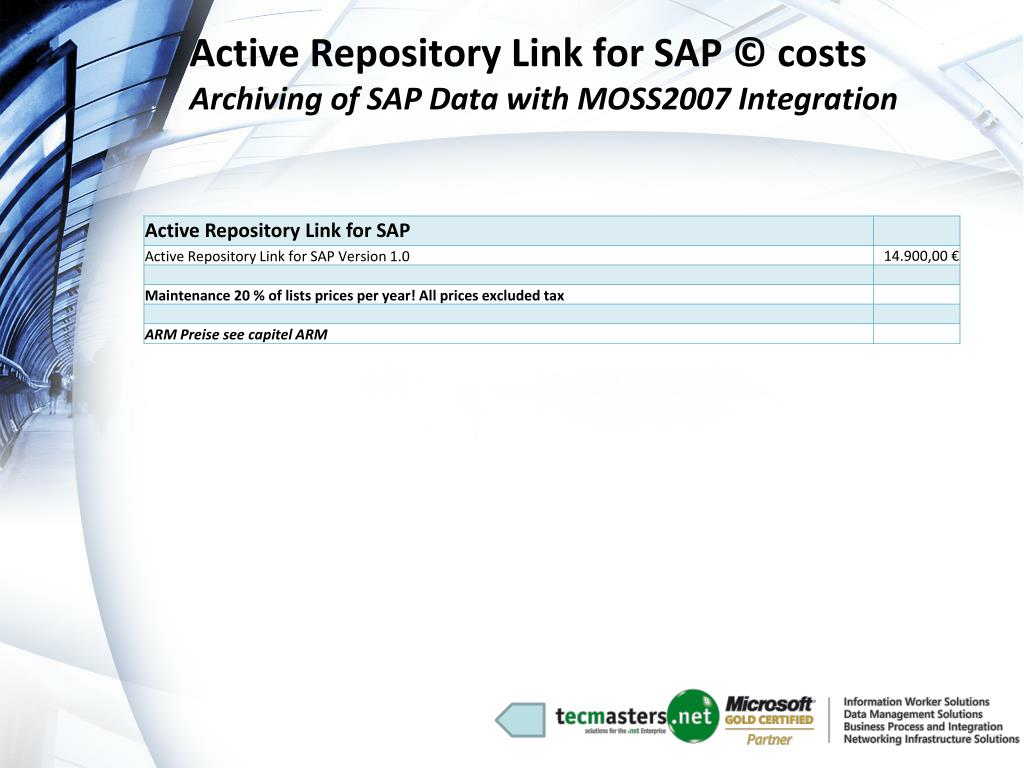 Active Repository Link for SAP © costs
