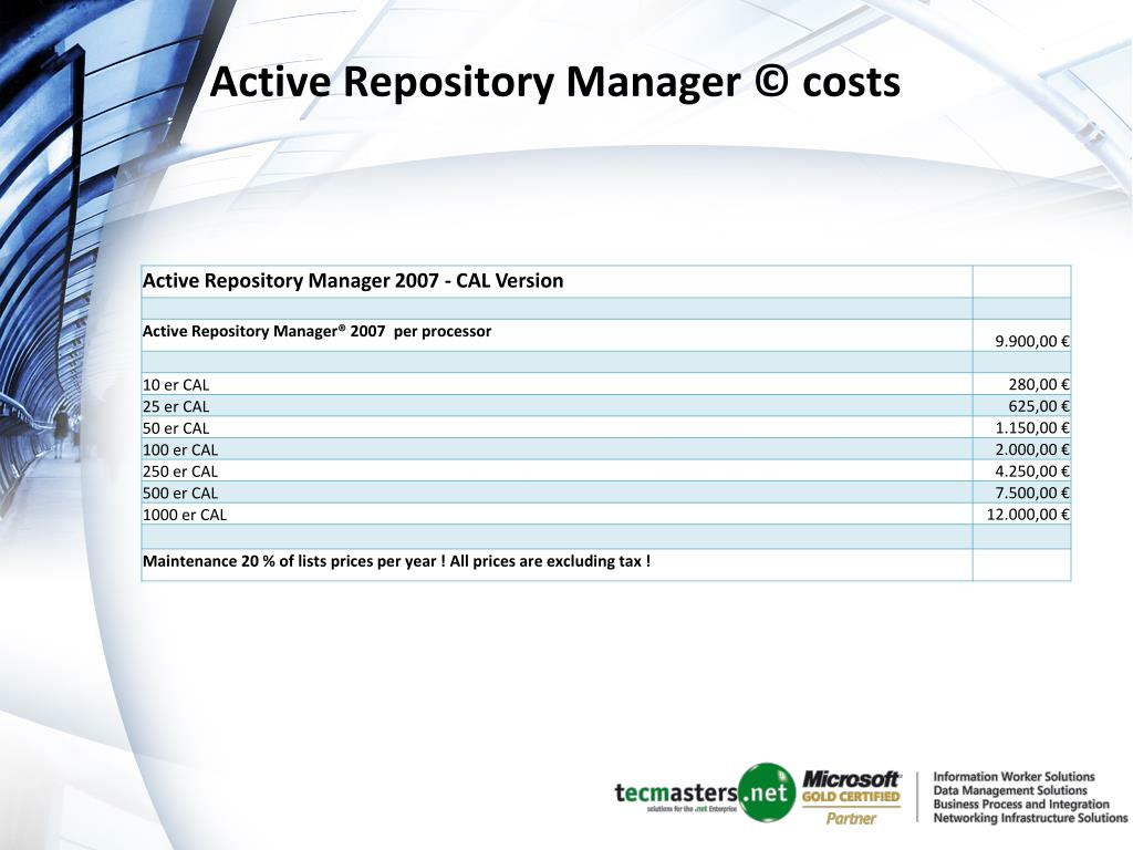 Active Repository Manager © costs