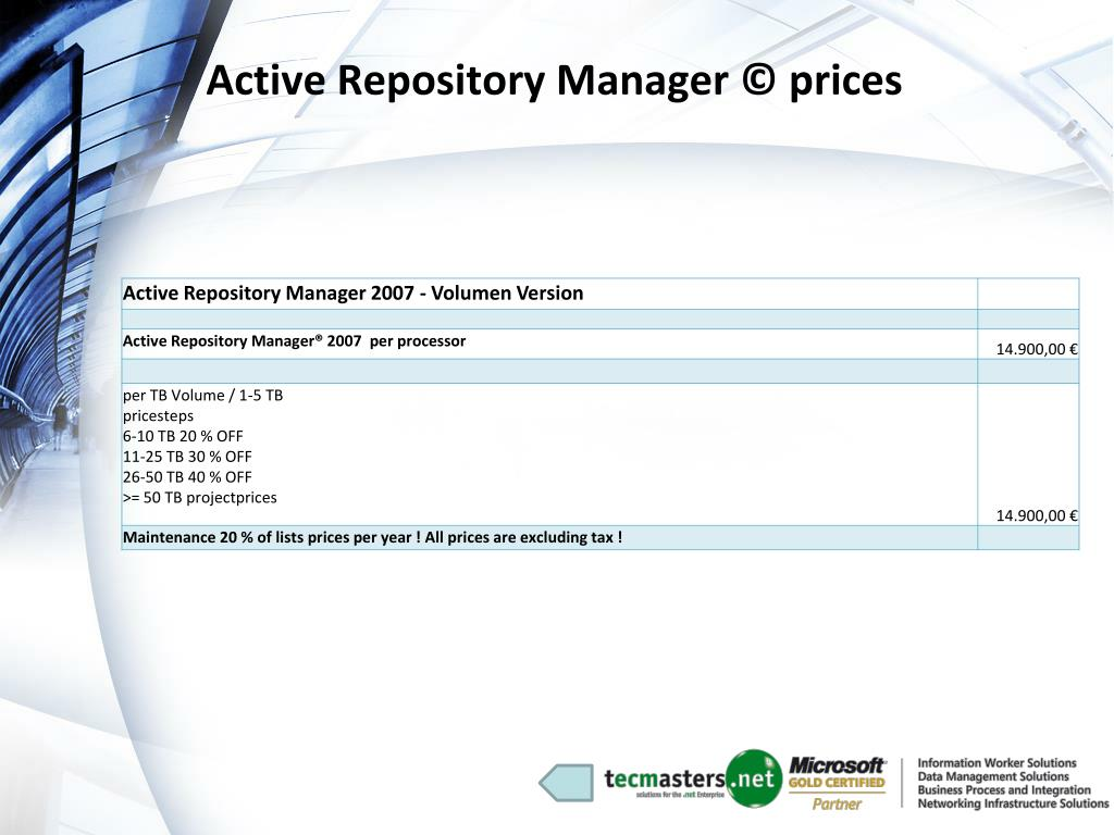 Active Repository Manager © prices