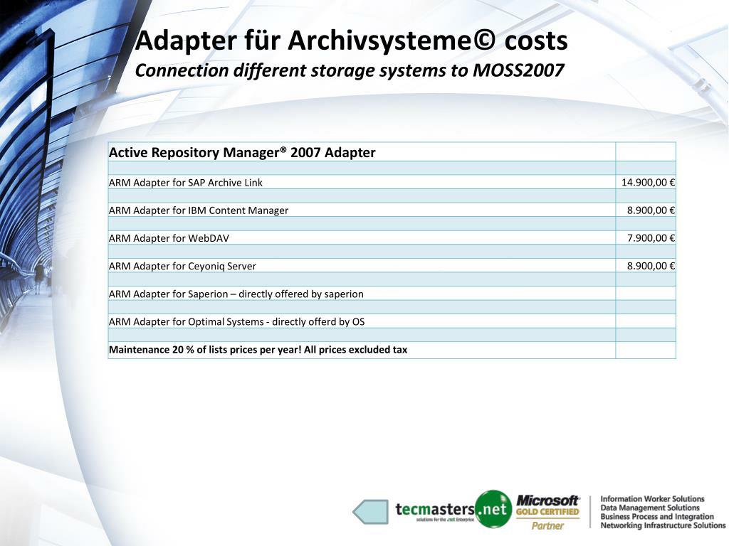 Adapter für Archivsysteme© costs