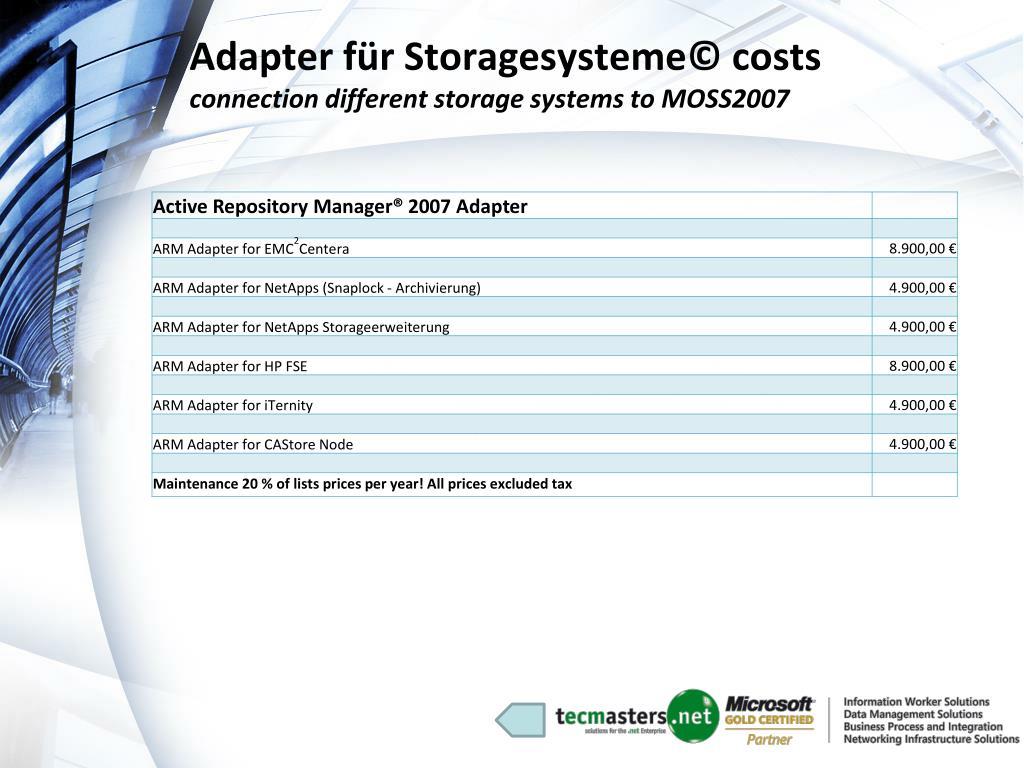 Adapter für Storagesysteme© costs