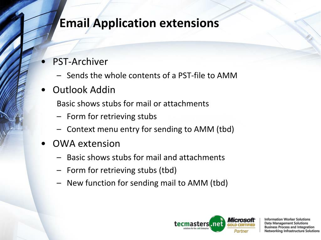 Email Application extensions