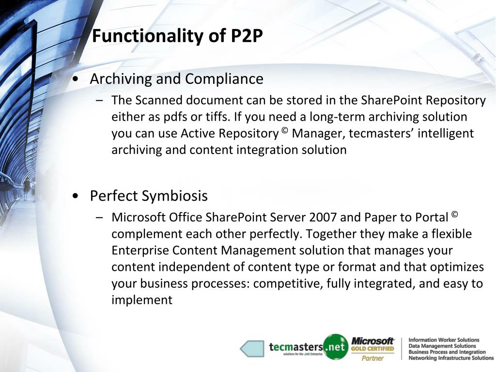 Functionality of P2P