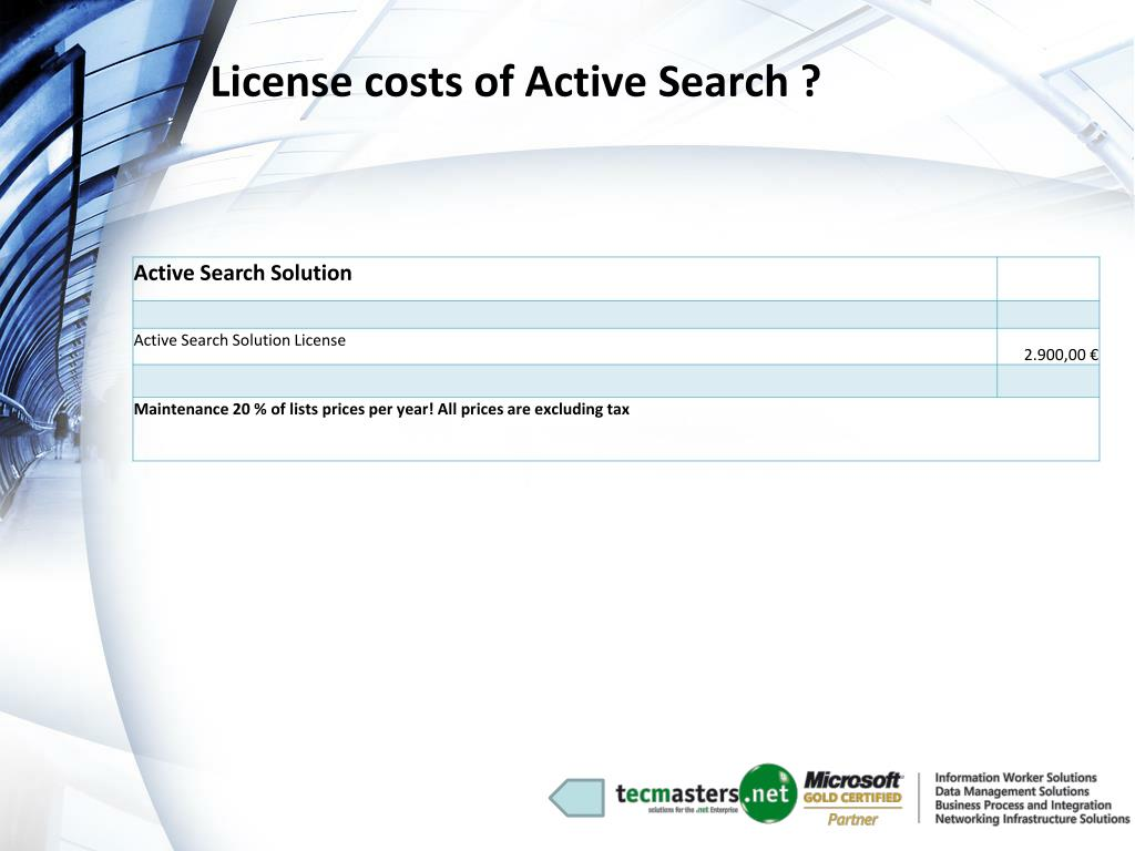 License costs of Active Search ?