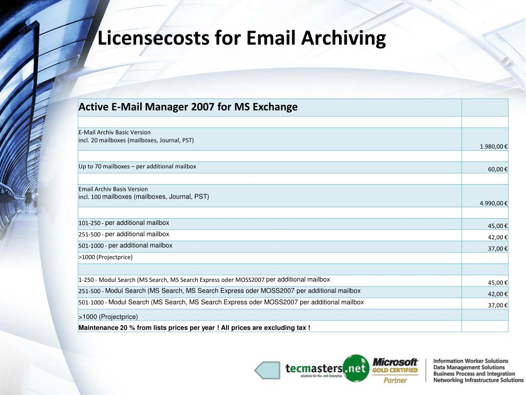 Licensecosts for Email Archiving