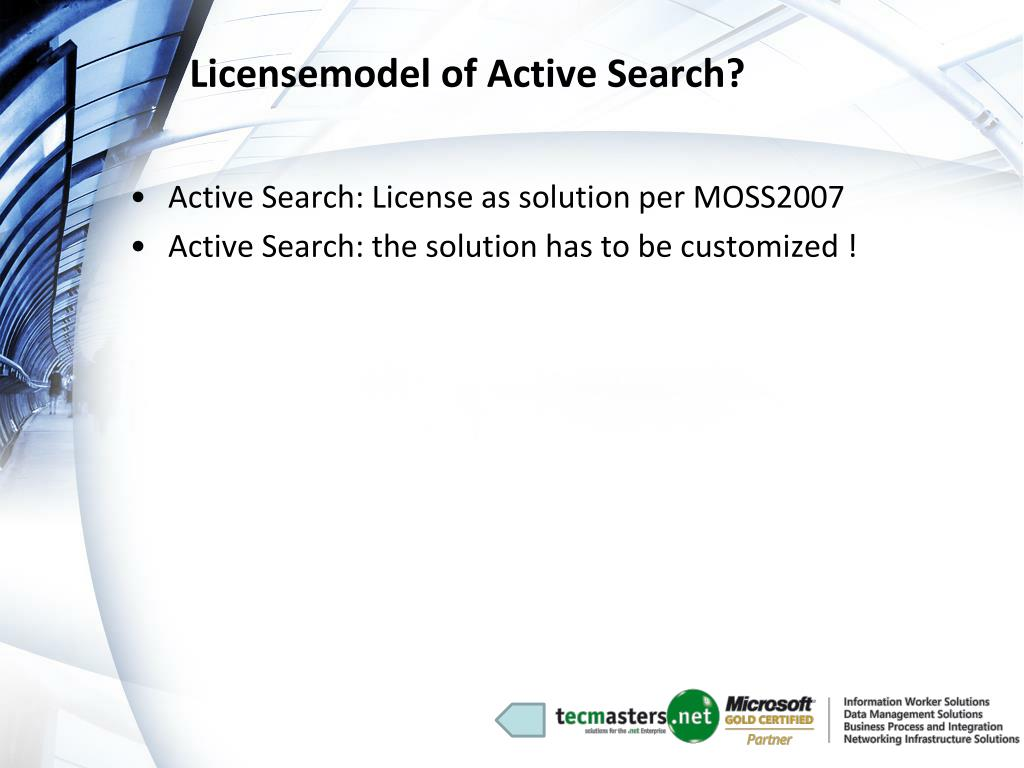 Licensemodel of Active Search?