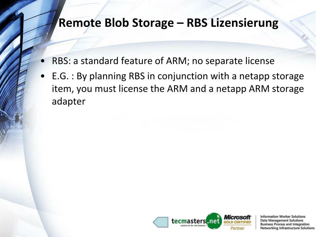 Remote Blob Storage – RBS Lizensierung