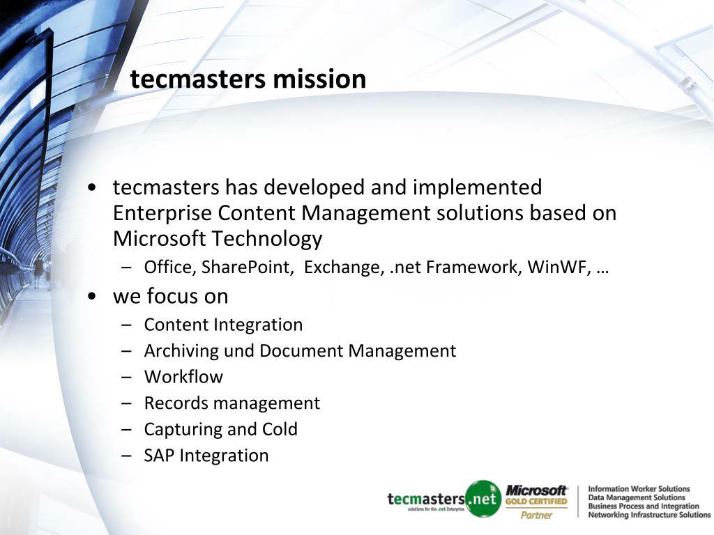 tecmasters mission
