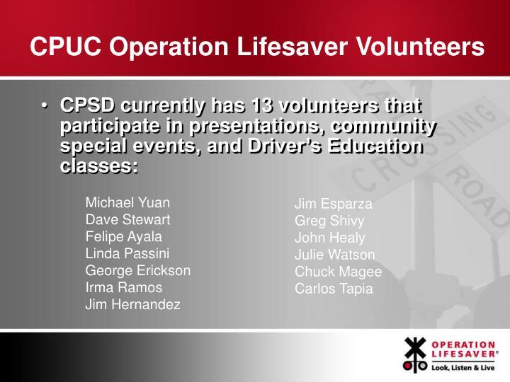 CPUC Operation Lifesaver Volunteers